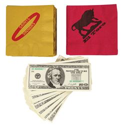 Set of The Punisher Cocktail Napkins and Prop Money.