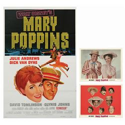 Mary Poppins Poster and Pair of Lobby Cards.