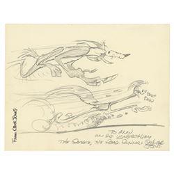 Chuck Jones Roadrunner & Wiley E. Coyote Drawing.