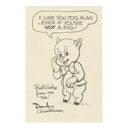Porky Pig Drawing Signed by Don Arr Christensen.