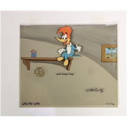 Signed Woody Woodpecker Production Cel & Background.
