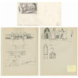 Set of (3) Shrek 2 Production Drawings.