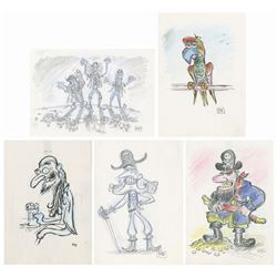 Set of (5) The Pirates! Concept Drawings.