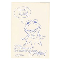 Kermit The Muppets Drawing Signed by Guy Gilchrist.