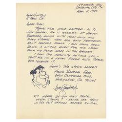Fred Flintstone Drawing & Letter by Dick Bickenbach.