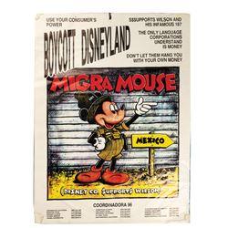 """Migra Mouse"" Disneyland Boycott Sign."