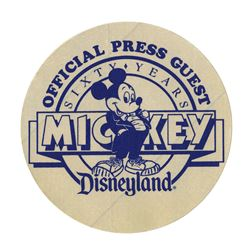 Mickey's 60th Birthday Press Badge.