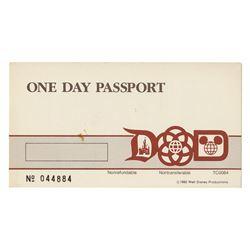 Milt Albright's Disney Parks One Day Passport.