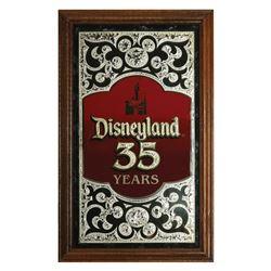 Disneyland 35th Anniversary Glass Sign.