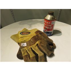 ATLAS ANTI-FREEZE CAN AND ESSO OIL COMP. GLOVES