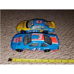 TWO #43 STOCK CARS (ONE SIGNED RICHARD PETTY) - BOBBY HAMILTON, JOHN ANDRETTI