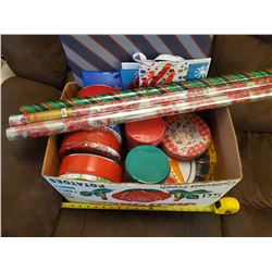 LOT OF CHRISTMAS ITEMS (TINS, PAPER, GIFT BAGS)