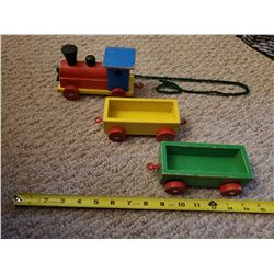 WOODEN PULL-TYPE TOY TRAIN