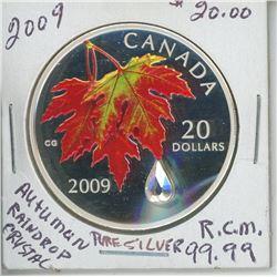 2009 - $20.00 - AUTUMAN RAINDROP CRYSTAL COIN