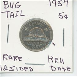 1957 - 5 CENT - BUGTAIL COIN