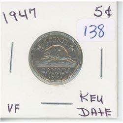 1947 - 5 CENT - BEAVER DESIGN COIN