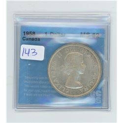 1958 - $1.00 COIN GRADED CCCS