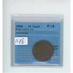 1808 - 10 CASH FAST INDIA CO. SHIPWRECK COIN - CCCS