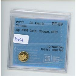 2011 25 CENT .5 G .9999 GOLD COIN CCCS