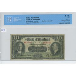 1935 - $10.00 BILL - BRANK OF MONTREAL - CCCS