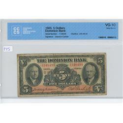 1935 - $1.00 DOMINION BANK BILL - CCCS