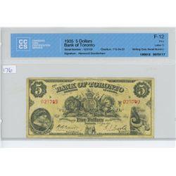 1935 - $5.00 - BANK TORONTO - CCCS