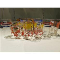 12 JUICE GLASSES 50'S-60'S STYLE