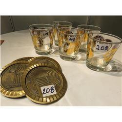SASK DIAMOND JUBILEE GLASSES - MOUNTIES, SASK BRASS COASTERS