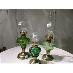 3 DECORATIVE GREEN PERFUME LAMPS