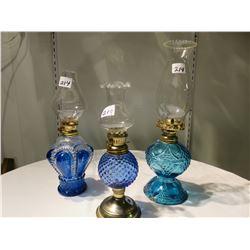 3 DECORATIVE BLUE PERFUME LAMPS