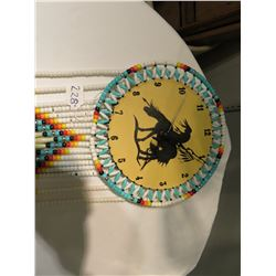 BEADED LEATHER NATIVE CLOCK