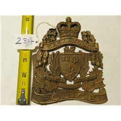 5X6 BRASS CAST PLAQUE - SASKATOON POLICE