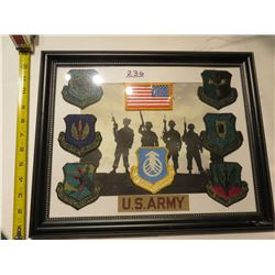 FRAMED PICTURE US ARMY GROUP BADGES