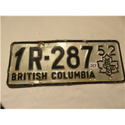 1952 BRITISH COLUMBIA LICENSE PLATE