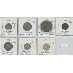 SEVEL GREAT BRITAIN COINS, ALL SILVER