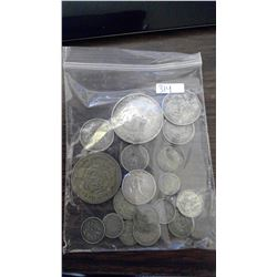 19 WORLD COINS, ALL SILVER, LIST ATTACHED