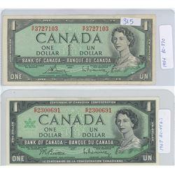 1954 & 1967 CANADIAN ONE DOLLAR BILLS