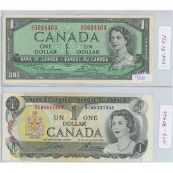 1954 & 1973 CANADIAN ONE DOLLAR BILLS