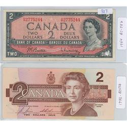 1954 & 1986 CANADIAN TWO DOLLAR BILLS