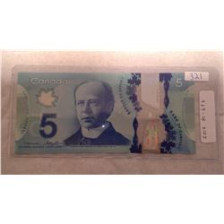 2013 CANADIAN FIVE DOLLAR BILL - CHUNC