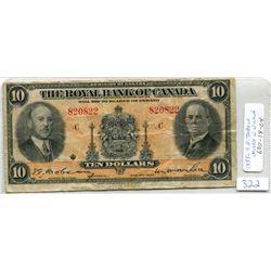 1935 ROYAL BANK OF CANADA TEN DOLLAR NOTE- 630-18-04