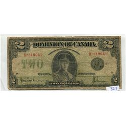 1923 DOMINION OF CANADA TWO DOLLAR NOTE- FILLER
