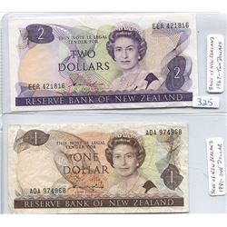 ONE AND TWO DOLLAR BANK NOTES OF NEW ZEALAND