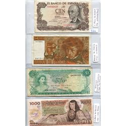 FOUR WORLD BANK NOTES- BAHAMAS, FRANCE, MEXICO & SPAIN