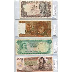 FOUR WORLD BANK NOTES- BAHAMAS, FRANCE, MEXICO & SPAIN