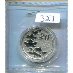2011 TWENTY FOR TWENTY ENCAPSULATED COIN - FIVE MAPLE LEAVES - 1/4 OZ SILVER
