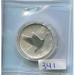 2014 20 DOLLAR COIN - .9999 1/4 OZ SILVER