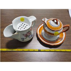 SHAVING MUG WITH BRUSH & ORANGE CREAMER W/ DISH