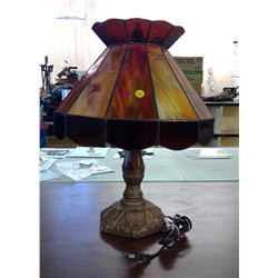 VINTAGE LAMP WITH STAINED GLASS SHADE