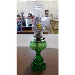 GREEN GLASS COAL OIL LAMP